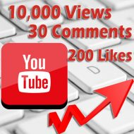 10000 Youtube views 200 likes 30 comments
