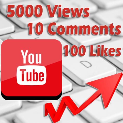 5000 Youtube views 100 likes 10 comments
