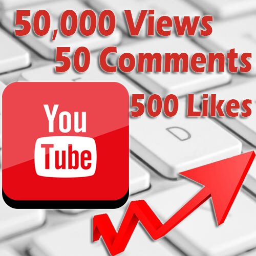 50000 Youtube views 500 likes 50 comments